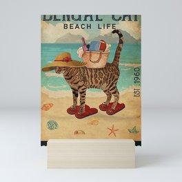 Beach Life Sandy Toes Bengal Cat  Mini Art Print