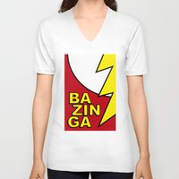 bazinga V-neck T-shirts featuring Bazinga by Bazingfy