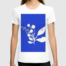 Minimal Wildflowers On Cobalt Blue T-shirt