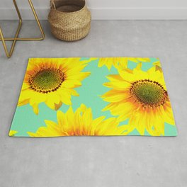 Sunflowers on a pastel green backgrond - #Society6 #buyart Rug