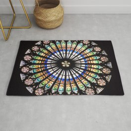 Stained glass cathedral rosette Rug