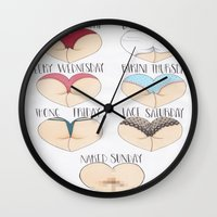 booty Wall Clocks featuring Booty Week by Isotta Pavarin