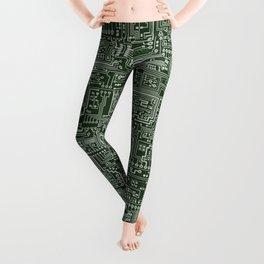 Circuit Board // Green & Silver Leggings