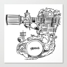 Yamaha SR500 Motor Sketch Canvas Print