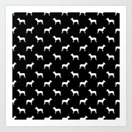 Pitbull black and white pitbulls silhouette minimal dog pattern dog breeds dog gifts Art Print