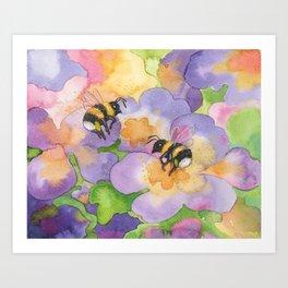 Spring bumblebees Art Print