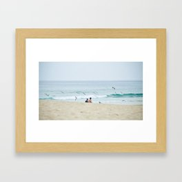 Seagulls & seashore Framed Art Print