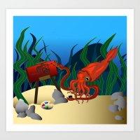 Mocking Squid  Art Print