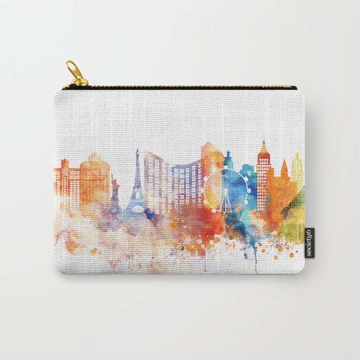 Las Vegas Watercolor Skyline Carry-All Pouch
