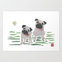 pugs Art Prints featuring PUGS by Bless Hue