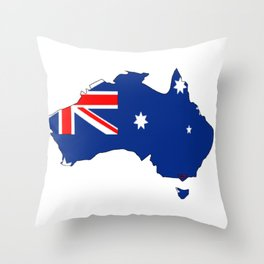 Australia Map with Australian Flag Throw Pillow