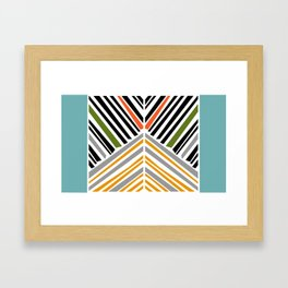 Colorful Stripes With Blue Framed Art Print