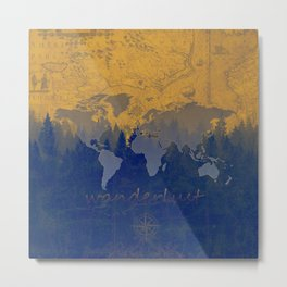 world map wanderlust forest yellow Metal Print