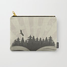 Dark forest in open book with raven Carry-All Pouch