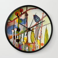 child Wall Clocks featuring the child by sylvie demers