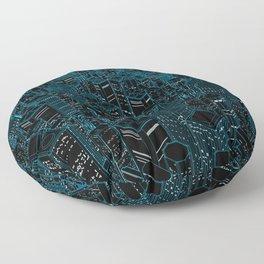 Night light city / Lineart city in blue Floor Pillow