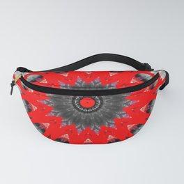 Bright Red Black White Mandala Design Fanny Pack