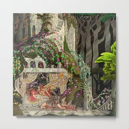The Prince Looks down on Sleeping Beauty in the Garden of Delights by Kay Nielsen Metal Print