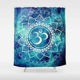 Galaxy Om Mandala Aqua Midnight Blue Shower Curtain