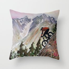 Downhill Biker Throw Pillow