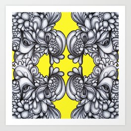Drips on Yellow. Black and white pen illustration. Art Print