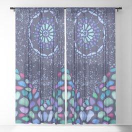 Sea Glass Mountain Night Mosaic Sheer Curtain