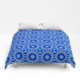 Blue and Yellow Circle Repeating Pattern Comforters