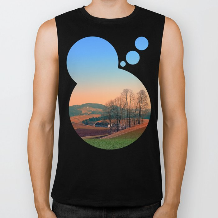 Trees, panorama and sunset | landscape photography Biker Tank