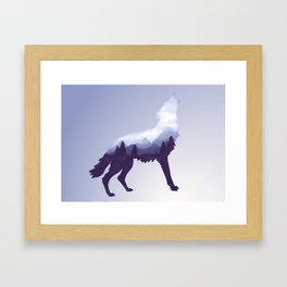 Wolf Double Exposure Surreal Wildlife Animal Wolves Gifts Framed Art Print
