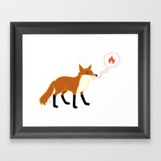 Fox With Pink Lips Framed Art Print