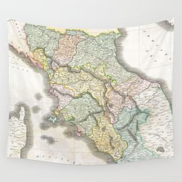 Vintage Map of Tuscany Italy (1814) Wall Tapestry
