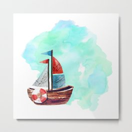 Ship in the Watercolor Metal Print