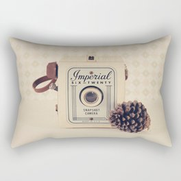 Imperial Autumn Camera with Pine Cone (Retro Still Life Photography)  Rectangular Pillow