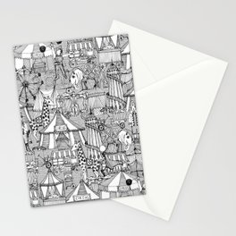 retro circus black white Stationery Cards