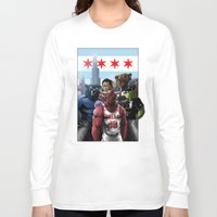 sports Long Sleeve T-shirts featuring Chicago Sports by Carrillo Art Studio