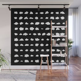 101 tiny fluffy clouds on black - in rows Wall Mural
