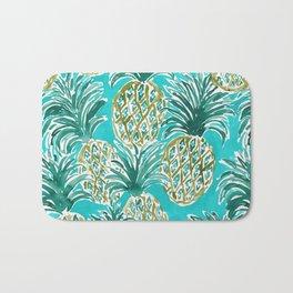AQUA PINEAPPLE O'CLOCK Tropical Hawaiian Watercolor Bath Mat