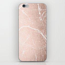 Paris France Minimal Street Map - Rose Gold Glitter on White iPhone Skin