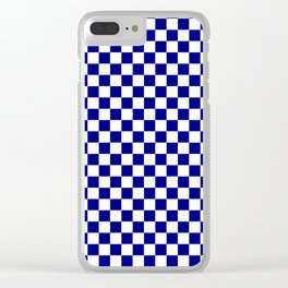 White and Navy Blue Checkerboard Clear iPhone Case