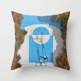 Shooting Hoops Street Basketball | Aerial Illustration Throw Pillow