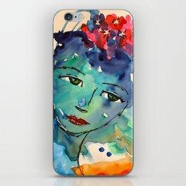 Green watercolor girl iPhone Skin
