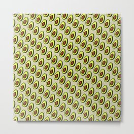 Avocados on Beige, Diagonal Metal Print