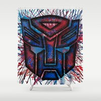 transformers Shower Curtains featuring Transformers Autobot ColorSplash by Brietron Art