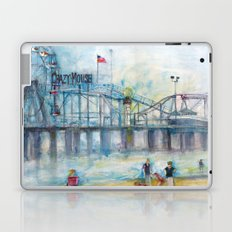 Altantic City, New Jersey - Roller Coaster - Ferris Wheel - Watercolor Painting Laptop & iPad Skin