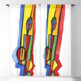 Man with colorful geometry Blackout Curtain