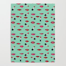 Lips and lispticks pattern in tropical background Poster