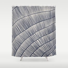 Abstract Coral in Navy Blue I Shower Curtain