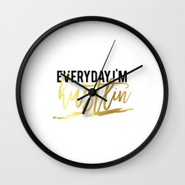 """GOLD FOIL PRINT """"Everyday im hustlin"""" print motivational typography poster printable quote office de Wall Clock"""