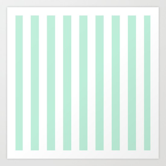 Mint green and White stripes-vertical Art Print