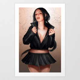 Girl in leather Art Print